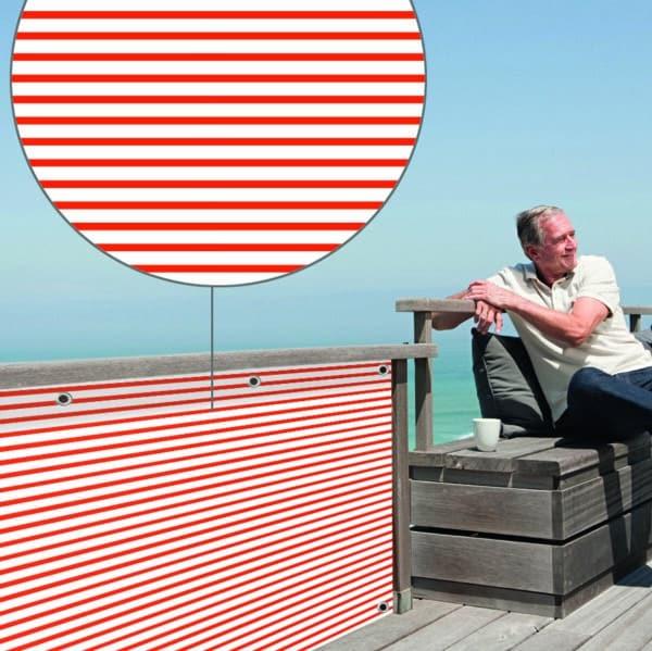 Sichtschutz Heinzi rot farbig myfence Anwendung