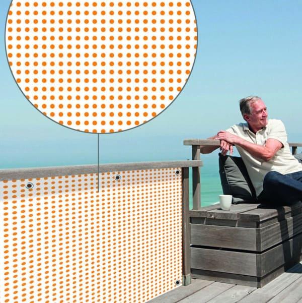 Sichtschutz Punktmarie orange myfence Anwendung