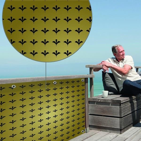 Sichtschutz Roy Gold myfence Anwendung