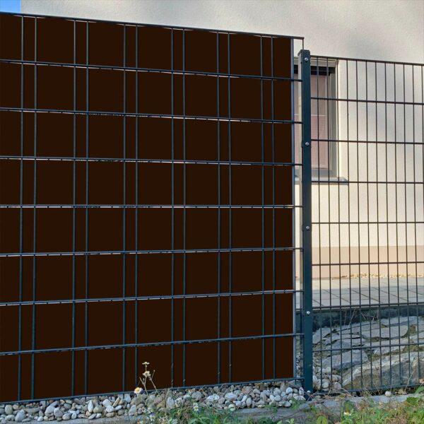 Schokoladenbraun Sichtschutzstreifen myfence Anwendung