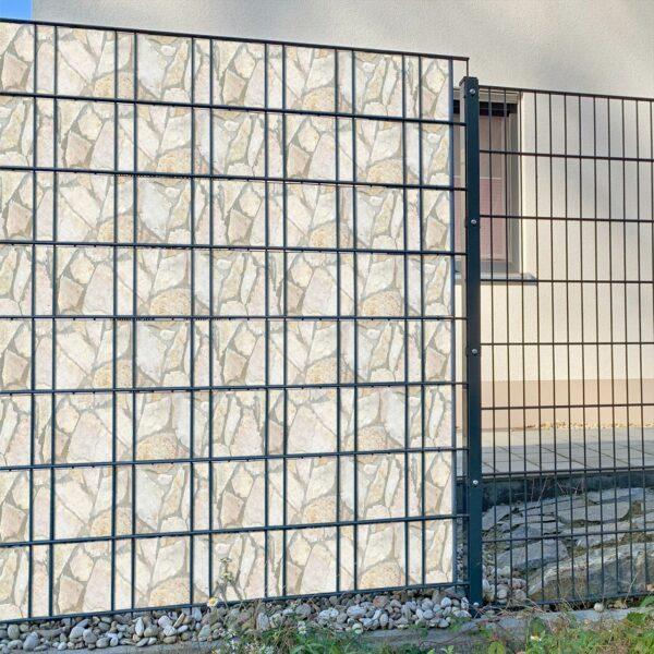 Villa Romantica steinig Sichtschutzstreifen myfence Anwendung