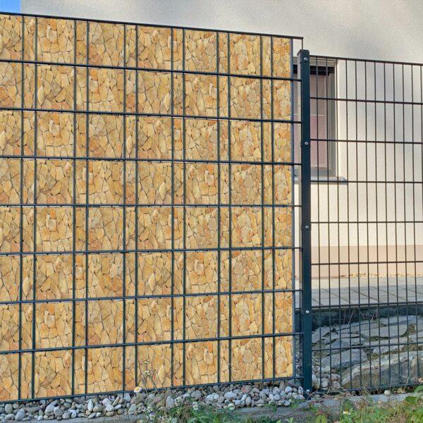 Villa Rustica steinig Sichtschutzstreifen myfence Anwendung