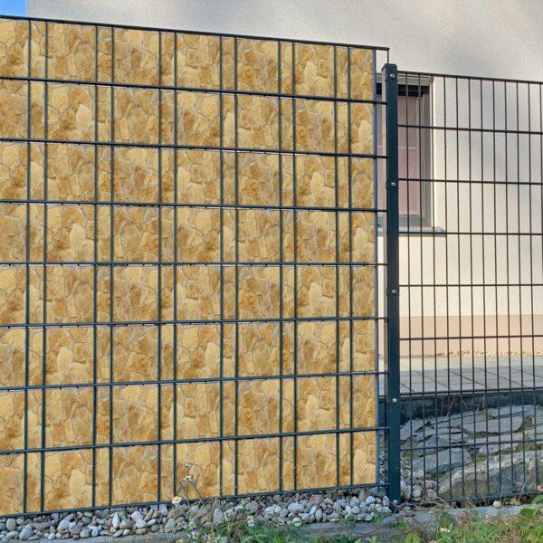 Villa Rustistone steinig Sichtschutzstreifen myfence Anwendung