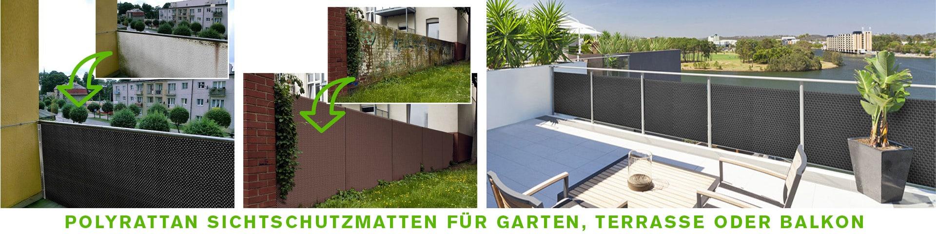 Polyrattan Sichtschutzmatten für Garten, Terrasse oder Balkon